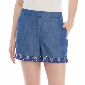 Kaari Blue Embroidered Shorts Blue Size 12